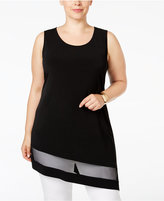Alfani Plus Size Mesh-Inset Asymmetric-Hem Top, Only at Macy's