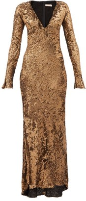 Maria Lucia Hohan Ailish Plunge Neckline Sequinned Maxi Dress - Womens - Bronze