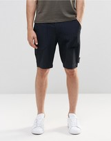Asos Long Length Smart Shorts In Navy With Pinstripe