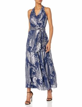 Chetta B Women's Metallic Floral Gown