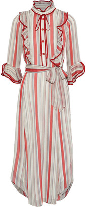 Mikael Aghal Belted Ruffle-trimmed Striped Georgette Midi Dress