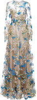 Naeem Khan Floral Embellished Long Sleeve Illusion Ball Gown