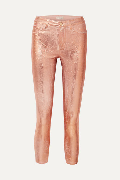 L'Agence Margot Metallic Coated High-rise Skinny Jeans - Pink