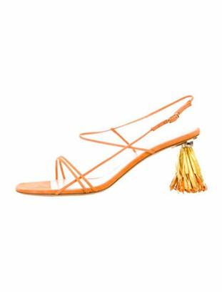 Jacquemus Raphia Suede Slingback Sandals Orange