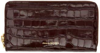 Alexander McQueen Burgundy Croc Continental Zip Wallet