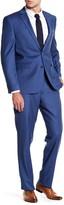 Vince Camuto Blue Woven Two Button Notch Lapel Wool Trim Fit Suit