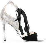 Rene Caovilla studded trim sandals - women - Cotton/Leather/Suede/rubber - 35