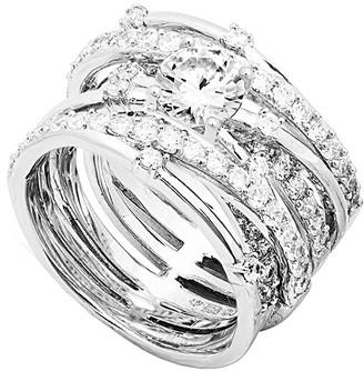 Crislu Silver & Platinum Cz Ring
