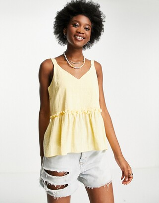 New Look textured v neck tie strap cami in sunflower yellow