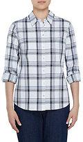 Allison Daley Long Roll-Tab Sleeve Windowpane Plaid Button Front Shirt