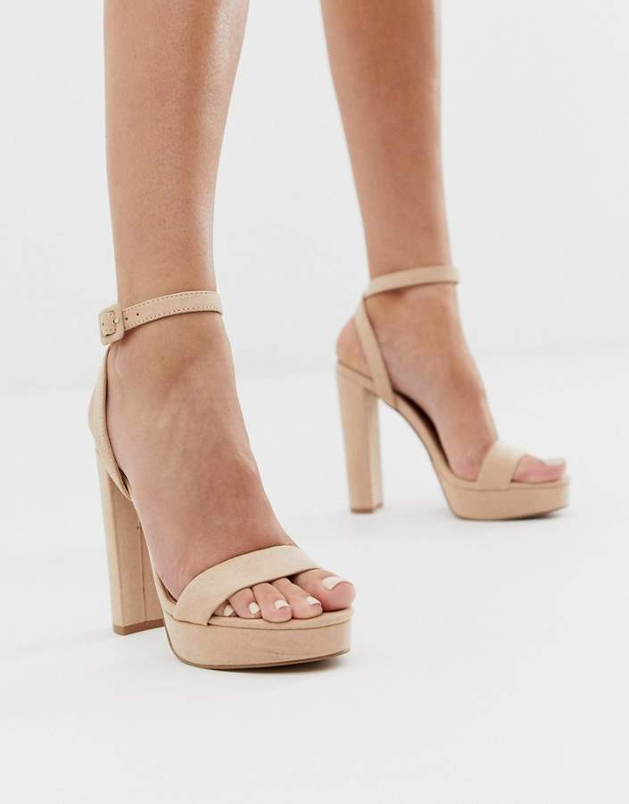 e100fd84b37 Asos Design ASOS DESIGN Nutshell platform heeled sandals in beige