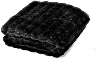 Fur Accents Llc Channel Mink Throw Blanket, Fur Lined, Black, 3'x5'