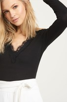 Dynamite Ribbed Knit Top With Lace V-Neck