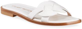 Stuart Weitzman Sierra Woven Leather Flat Sandals