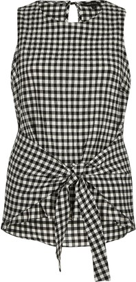 River Island Womens Black gingham print tie knot vest top