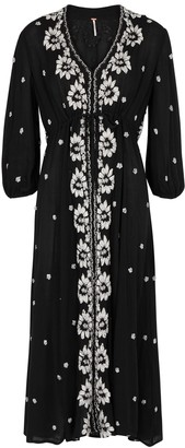 Free People Embroidered black gauze midi dress