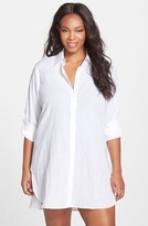 Tommy Bahama Plus Size Women's Boyfriend Shirt Cover-Up