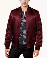 GUESS Men's Irvine Layered 2-in-1 Stain Camouflage Bomber