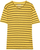 Etoile Isabel Marant Andreia Striped Slub Linen And Cotton-blend Jersey T-shirt - Yellow