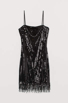 H&M Sequined Dress with Fringe - Black