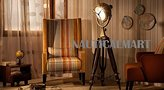 Antique Brass Finish Wooden Tripod Floor Lamp For Living Room By Nauticalmart