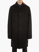 Raf Simons Black Wool Overcoat With Letter Detailing