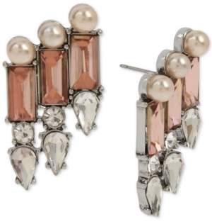 Betsey Johnson Silver-Tone Crystal & Imitation Pearl Statement Earrings