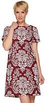 C. Wonder Stretch Crepe Short Sleeve Shift Dress w/ Bi-Color Print