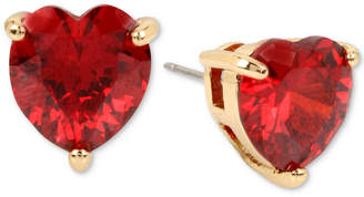 Betsey Johnson Colored Cubic Zirconia Heart Stud Earrings
