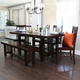 Walker Edison 6-piece Contemporary Cappuccino Wood Dining Set with Bench