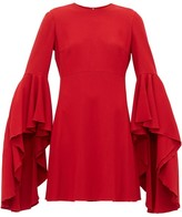 Giambattista Valli Fluted-cuff Crepe Dress - Womens - Red
