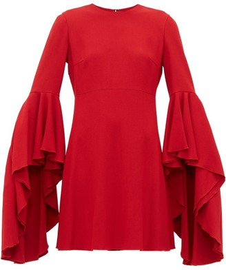 Giambattista Valli Fluted Cuff Crepe Dress - Womens - Red