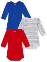 Petit Bateau Set of 3 baby boys long-sleeved bodysuits