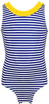 John Lewis Girls' Horizontal Stripe Swimsuit, Royal Blue