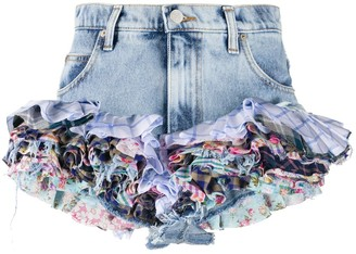 Natasha Zinko Ruffled-Hem Denim Shorts