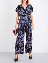 Diane von Furstenberg Floral-print satin-twill wrap jumpsuit