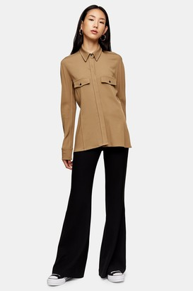 Topshop Camel Pintuck Shirt