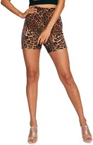 Tiger Mist Aarya Animal Print Stretch Velvet Shorts