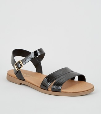 New Look Wide Fit Faux Croc Footbed Sandals