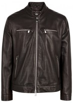 Corneliani Brown Leather Biker Jacket