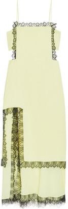 3.1 Phillip Lim Lace-trimmed Layered Satin-crepe And Crepe De Chine Midi Dress
