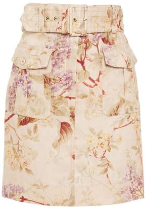 Zimmermann Belted Floral-print Linen Mini Skirt