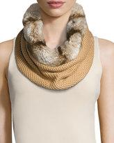 Badgley Mischka Faux-Fur & Knit Infinity Scarf, Camel