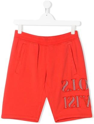 Stone Island Junior TEEN reverse logo printed shorts
