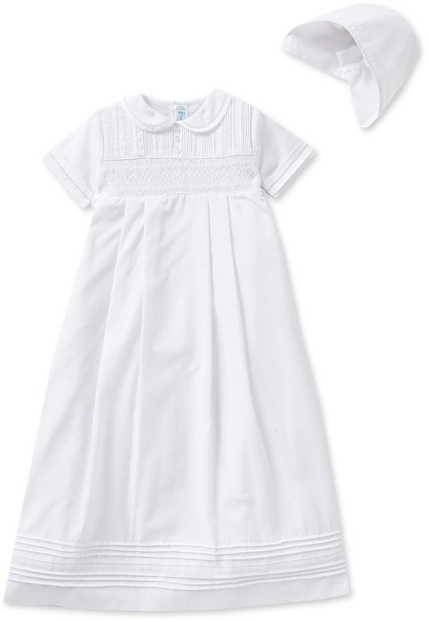Feltman Brothers Baby Boys 3-12 Months Smocked Christening Gown and Hat Set