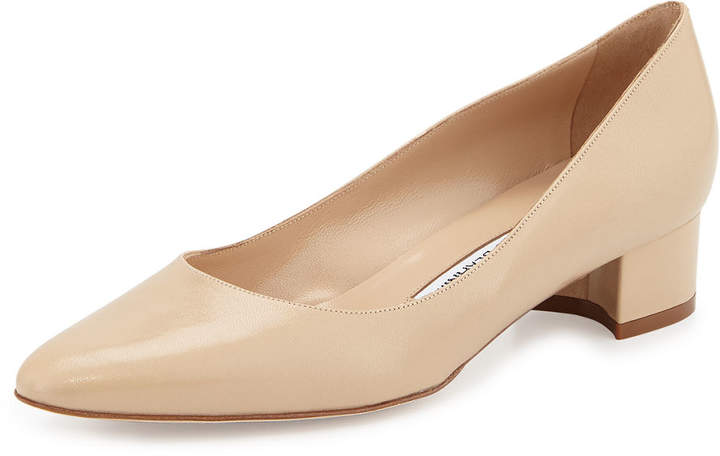Manolo Blahnik Listony Leather Low-Heel Pump