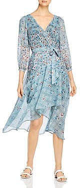 Karl Lagerfeld Paris Floral Print Faux Wrap Midi Dress