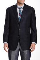 HUGO BOSS T Jordan Navy Windowpane Wool Blend Notch Lapel Blazer