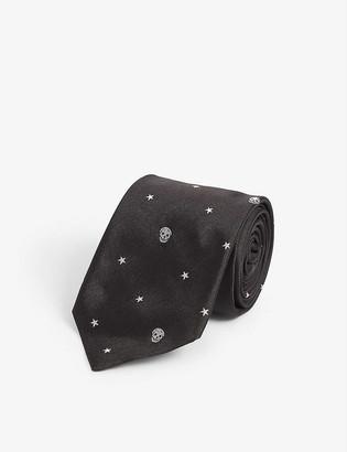 Alexander McQueen Star and skull-print silk bow tie