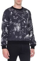 Dolce & Gabbana Forest-Print Crewneck Sweater, Black/White